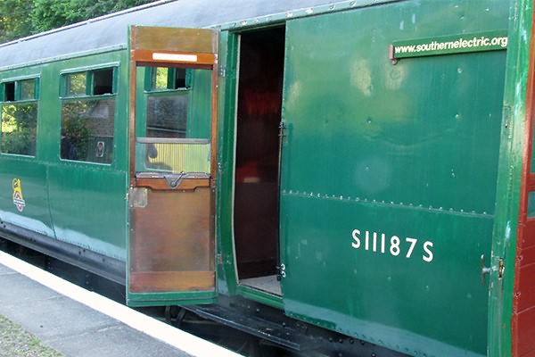 Our wonderfully preserved train is seen at Shepherdswell prior to departure, note our modern publicity in the destination board brackets