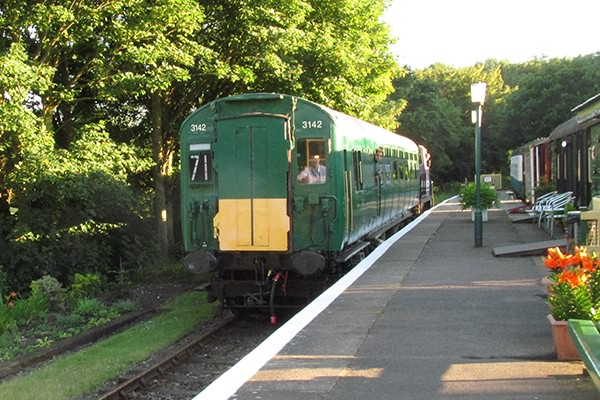 The train slowing down in the platform at Eythorne