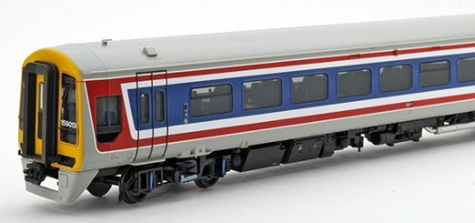 Three quarter view of Bachmann 31-520 159013 in Network SouthEast livery