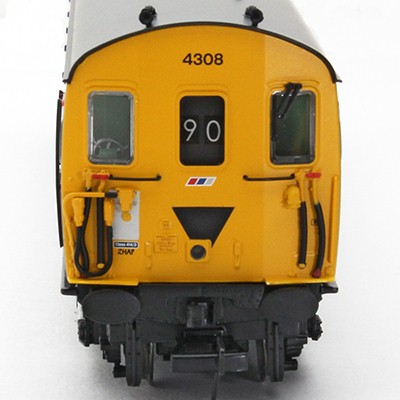 Cab front of unit 4308 in Revised Network SouthEast livery showing a headcode of 90 and a high intensity headlight