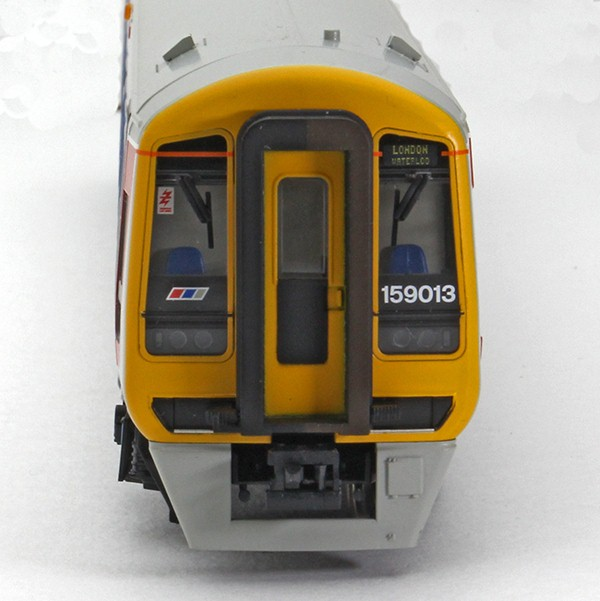 Cab front of 159013 showing destination display of London Waterloo